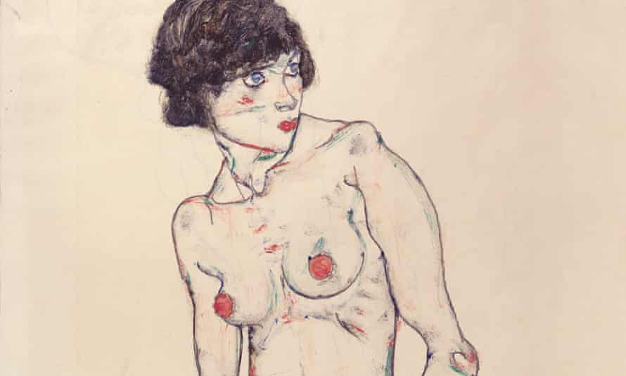 Egon Schiele, Standing Nude With Stockings