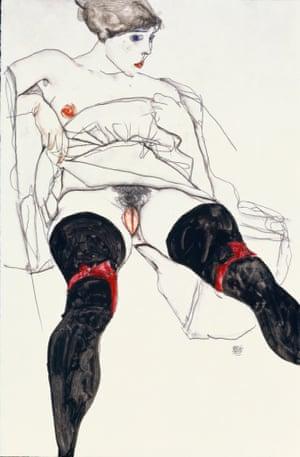 Woman with Black Stockings, 1913, Egon Schiele