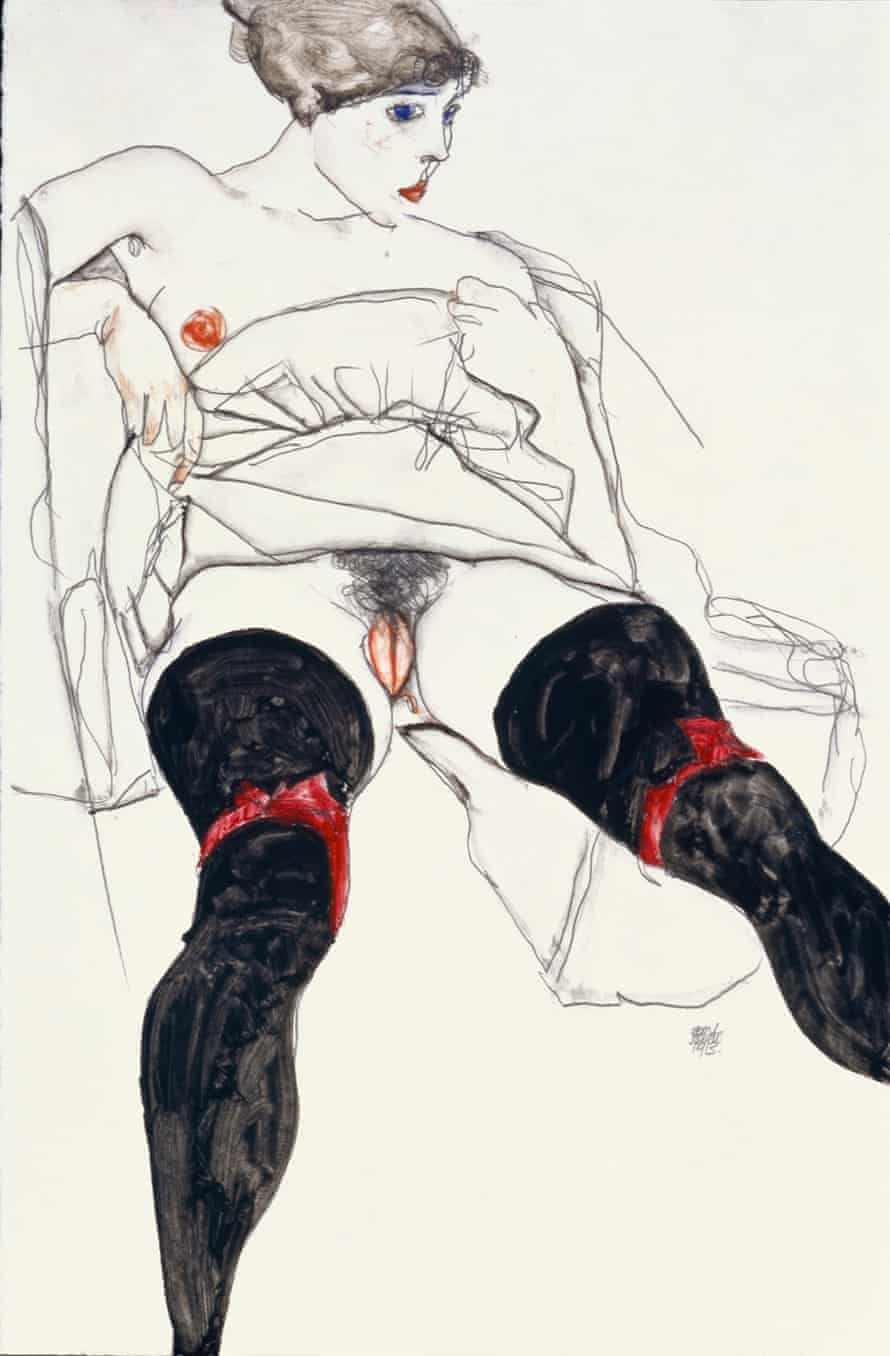 Woman with Black Stockings, 1913, Egon Schiele