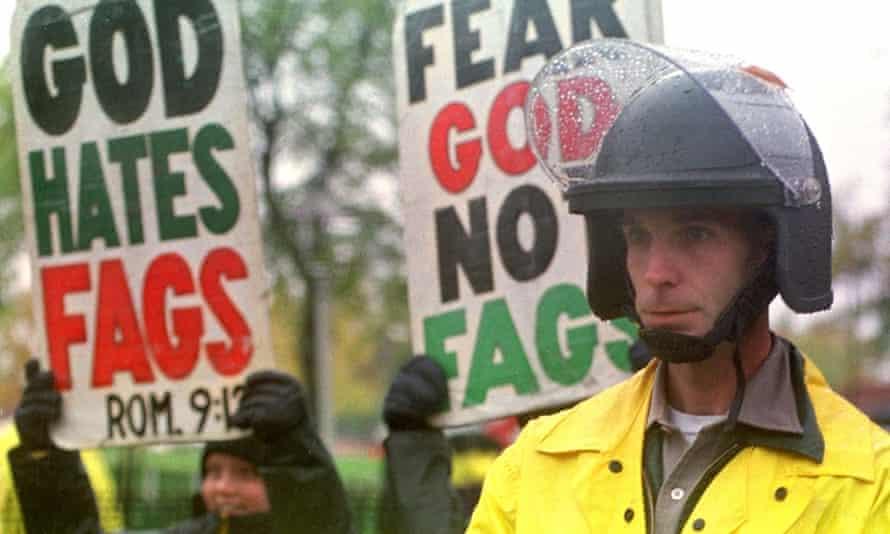 Anti-gay protestors at Matthew Shepard's funeral