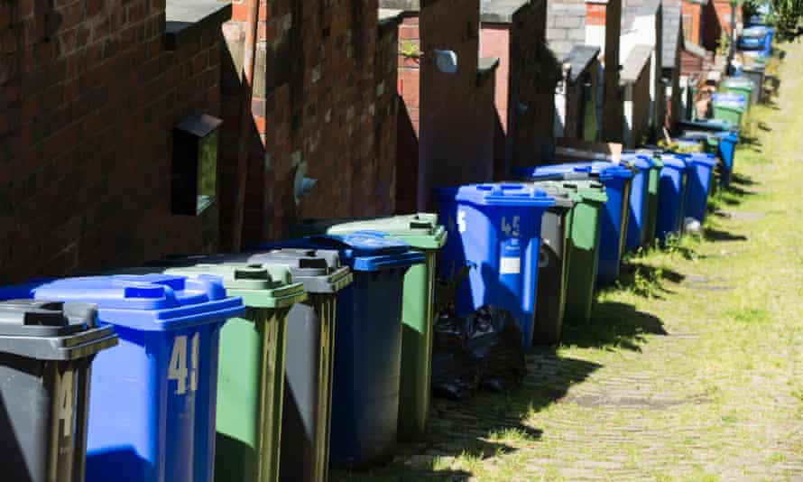 Recycling and rubbish bins at Summerseat, Bury