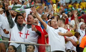England fans watch the team play Italy at the 2014 World Cup in Brazil