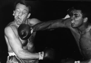 Ali lands a right to the head of Brian London during their fight at Earls Court. Ali won by a knockout in the third round.