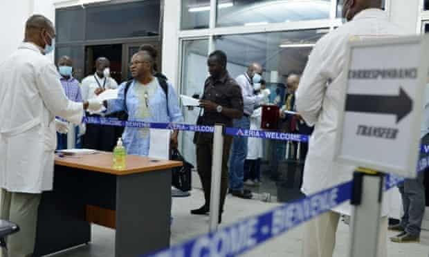 Ebola screening at Guinea airport