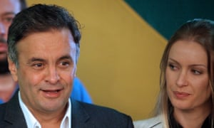 Aécio Neves with his wife, Leticia Weber. Grandson of a president-elect, his privileged background did nothing to dispel rumours of a playboy lifestyle.