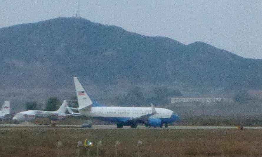 The US plane carrying Fowle at Pyongyang airport.
