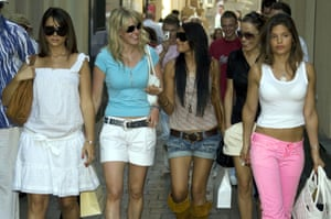 England Wags out and about in Baden Baden during the 2006 World Cup.