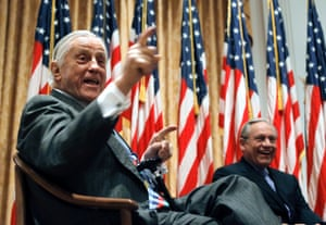Ben Bradlee and Bob Woodward in conversation about Watergate at the Richard Nixon presidential library in Yorba Linda, California, in April 2011.