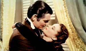 Clark Gable and Vivien Leigh in the screen version of the American civil war novel Gone with the Wind.