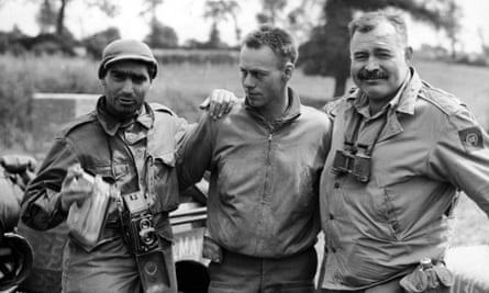 Ernest Hemingway, right, in France during the second world war.