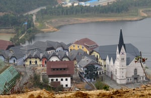 China's copy of the Austrian alpine town of Hallstatt, in Boluo Township, Huizhou City, Guangdong Province
