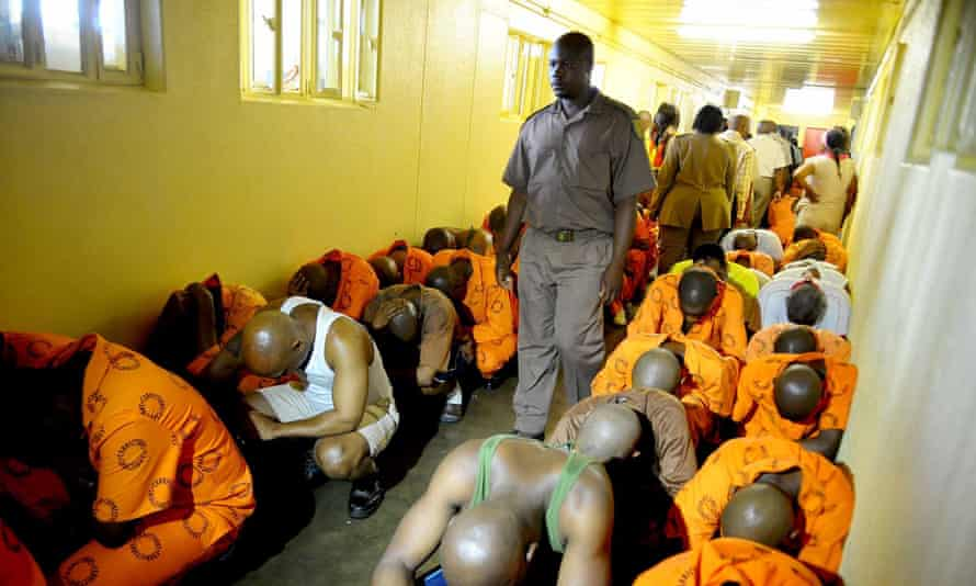 At the Kgosi Mampuru prison, prison officials carry out a surprise raid, checking for drugs and other contraband in Pretoria, South Africa.