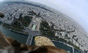 A white-tailed eagle, extinct in France for over 50 years, soared from the top of the Eiffel Tower in Paris and flew over the Seine with a Sony Camera mounted on its back. Its handler, Jacques Olivier Travers hopes to re-introduce the white-tailed eagle into its natural habitat in the French and Swiss Alps