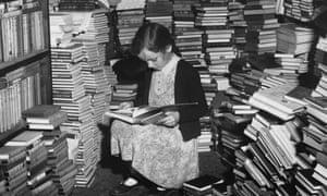 A cluttered corner of Foyles bookshop, London.
