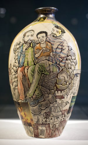 A work by artist Grayson Perry entitled Modern Family which forms part of his Who Are You? exhibition is displayed at the National Portrait. The piece makes up a selection of 14 works exploring the theme of identity and will show from 25 October