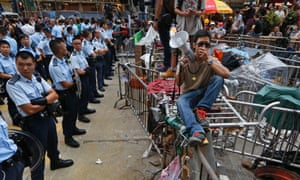 A stand-off between Hong Kong's pro-democracy protesters and police.