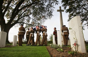 Bois-Grenier, France Members of the 4th Battalion The Yorkshire Regiment carry the remains of a World War One soldier, discovered in 2009, during a re-burial ceremony at the Commonwealth War Graves Commission Y-Farm Cemetery
