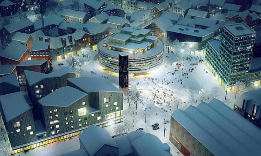 A new town square in Kiruna, Sweden, with circular town hall by Danish architect Henning Larsen.