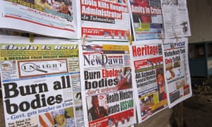Newspaper front pages in the Liberian capital, Monrovia, focus on the Ebola