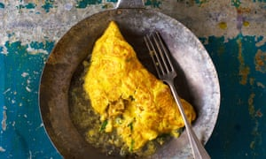 Henry Harris' fourme d'Ambert, crouton and chive omelette