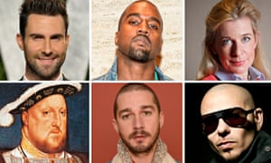 Spot the douchebags: (clockwise from top left) Adam Levine, Kanye West, Katie Hopkins, Pitbull, Shia