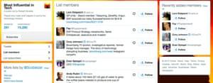 Twitter lists.