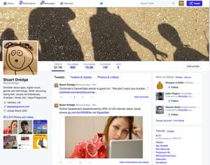 Twitter's new profile design.