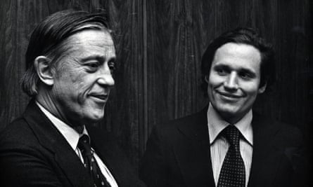 Ben Bradlee and Bob Woodward at the All the President's Men premiere in 1976.