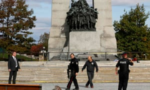 Canada War Memorial following a shooting incident