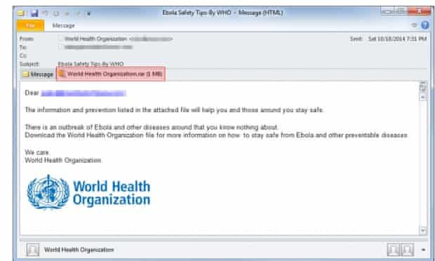 Spam emails pretending to offer Ebola tips are actually installing malware.