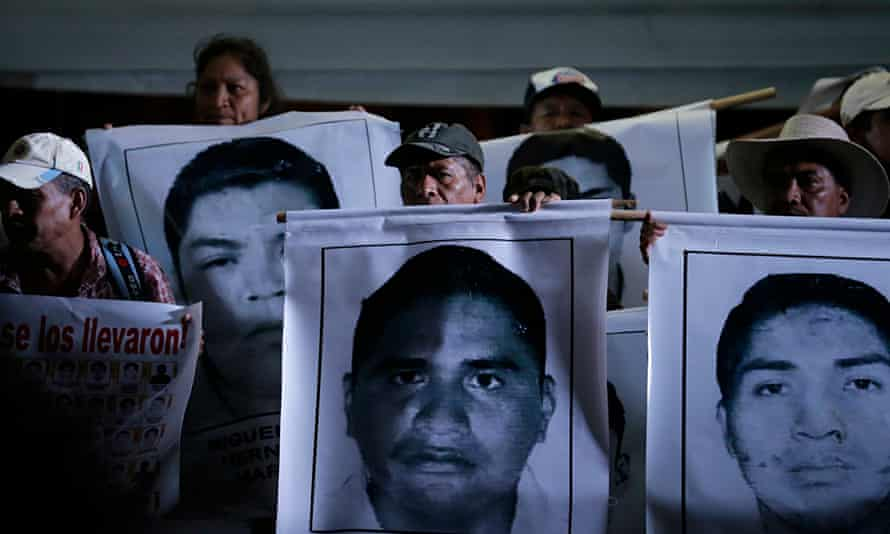 Relatives of the 43 missing students during a protest at Zocalo square in Mexico City
