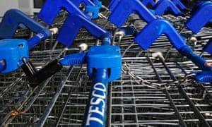 Tesco shopping trolleys in London.