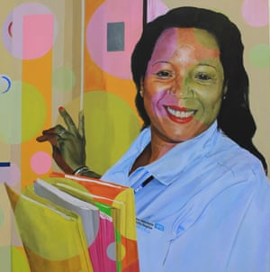 Marie with notes, acrylic on canvas, 2014