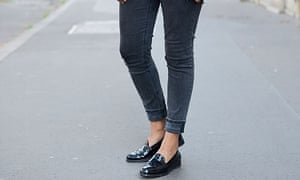 A model shows off her ankles and Tod's in Paris