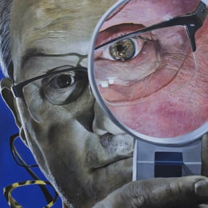 A portrait of MREH's dispensing optician, Steven Golding. The area inside Steven's magnifier shows standard colour vision and the area outside describes the colour vision deficiency that John Dalton suffered from, known as Deuteranopea