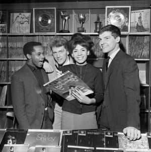 1962 of Alvin Stardust (second left), then known as Shane Fenton and born Bernard William Jewry, at Shirley Bassey's Record Shop on West End Lane, London with (from left) Danny Williams, Alvin Stardust, Shirley Bassey and Jess Conrad