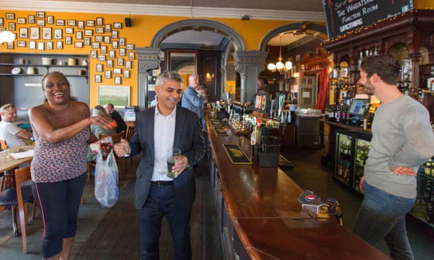 Sadiq Khan enjoying a pint (of lime soda) inside the Wheatsheaf, Tooting