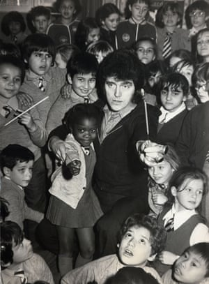 Alvin Stardust visits Our Lady of Victories Primary School in London to talk about the dangers of fireworks, 1975