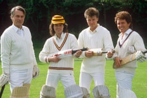 Alvin at the WWF celebrity charity cricket match with David Owen, Donny Osmond, and Paul Young in 1987
