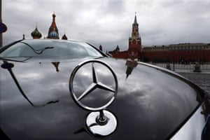 Mercedes car parked near the Red Square in Moscow, October 2014