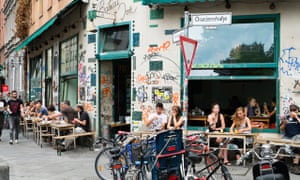 Cafe on Oranienstrasse in bohemian district of Kreuzberg in Berlin Germany