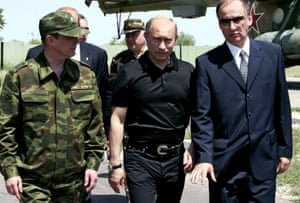 Nikolai Patrushev, right, with Russian president Vladimir Putin and defence minister Sergei Ivanov in Dagestan in 2005 when Patrushev was head of Russia's secret service.