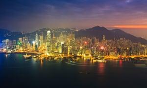 Hong Kong at sunset.