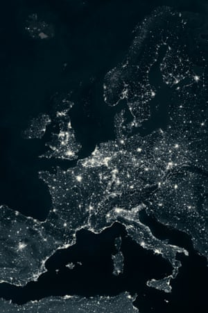 Europe at night from Space.
