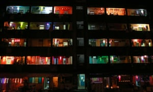 Mumbai, India Tenements housing mostly fishermen families are illuminated with lights