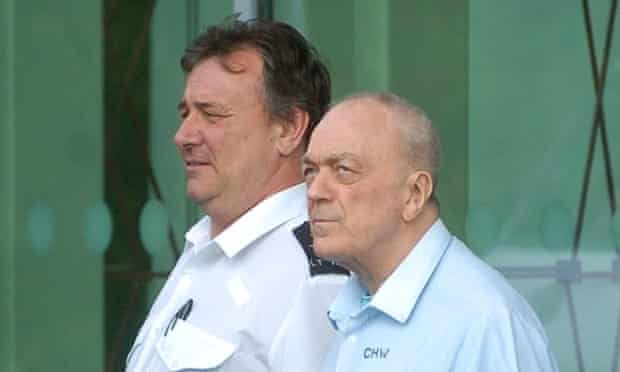 Harry Roberts, now 78, on his way to hospital with a prison guard in 2009