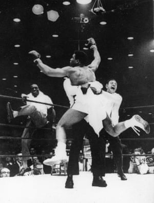 This emotive picture was snapped when Clay beat Liston, who was unable to answer the bell for round seven of their 1964 fight. There are many fine photos of this moment taken head on but in this one I like Clay's explosive pose and the way his cartwheeling limbs extend towards the corners of the frame. It's as if he's about to leap out of it.
