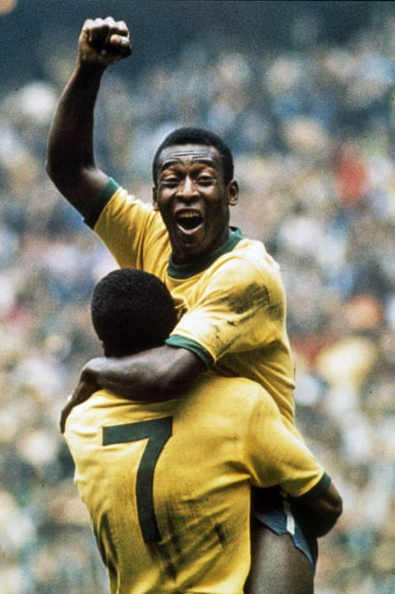 Pele at the World Cup final in 1970.