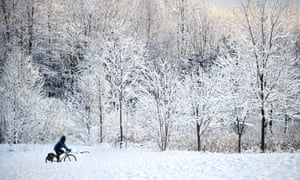 Cyclist in snow.