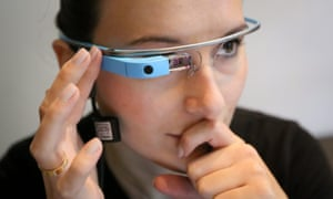 A woman experiments with Google Glass at the Jitter Hackathon